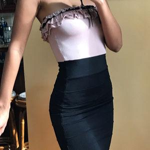 XS strapless ruffle-trim Bebe bandage mini dress